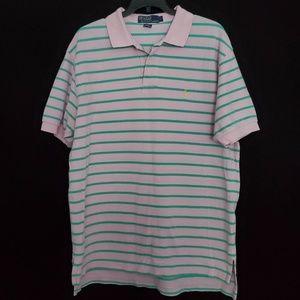 Ralph Lauren Pique Pink Green Striped Polo Shirt